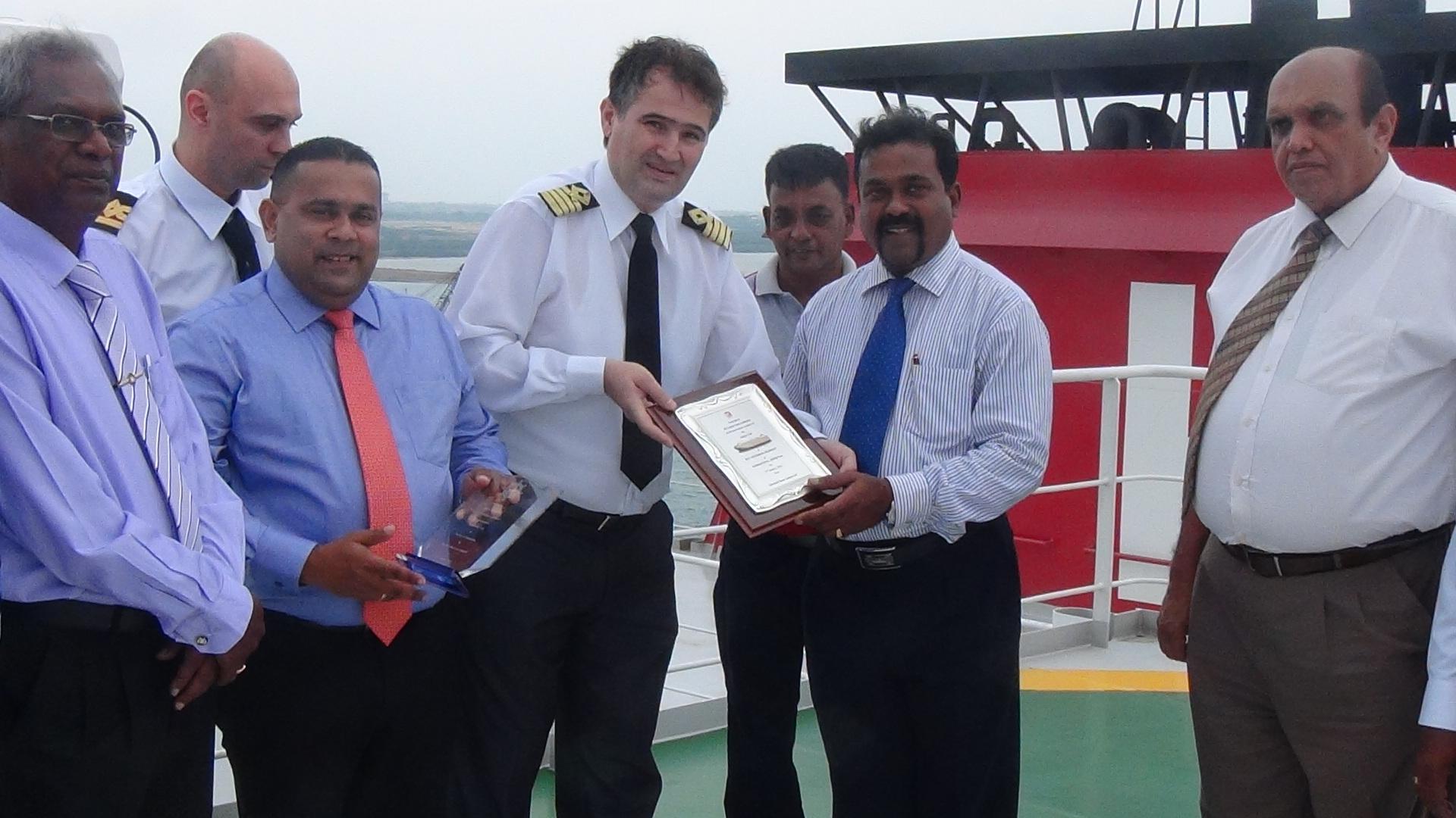 The Large Brand New K Line Car Carrier M/V 'HYPERION HIGHWAY' makes her Maiden visit to the Port of Hambantota
