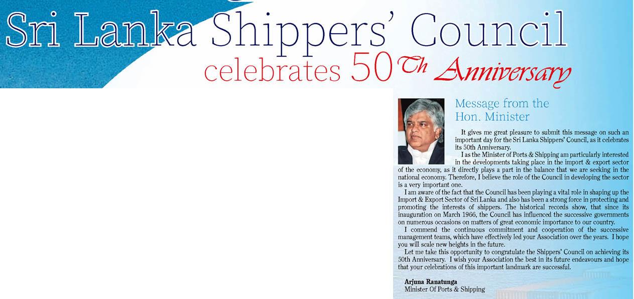 Sri Lanka Shippers' Council Celebrates 50th Anniversary